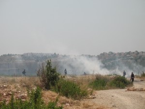 Tear gas at the Bil'in protest