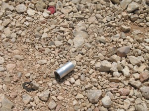 A spent tear gas canister